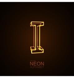 Neon 3d letter i vector