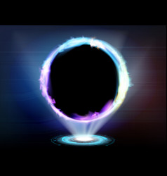 Neon glowing ring fire futuristic hud vector