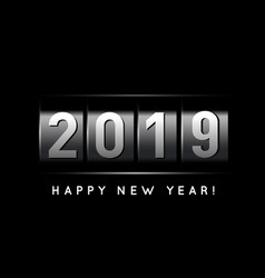 new year counter 2019 on black vector image