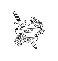 Old school tattoo emblem label with dagger rose vector