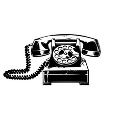 old telphone in cmic style vector image