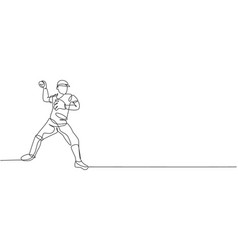 one continuous line drawing young sporty man vector image