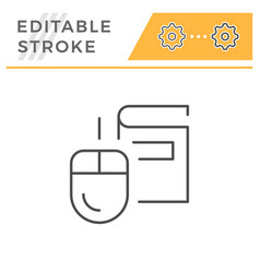 online education editable stroke line icon vector image