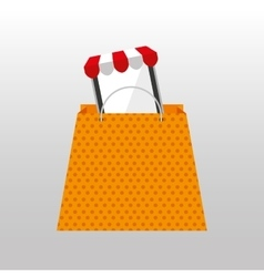 Online shopping yellow bag gift design vector