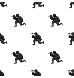 Paintball player icon in black style isolated on vector