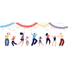 people on party fun dance group happy parent and vector image
