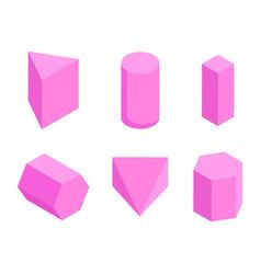 pink prisms set six geometric figures banner vector image
