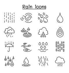 rain icon set in thin line style vector image