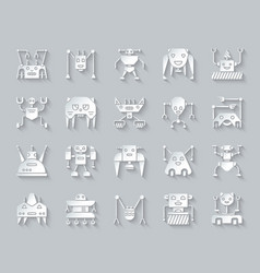 Robot simple paper cut icons set vector