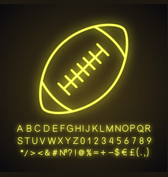 Rugby ball neon light icon vector