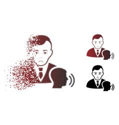 Sad moving pixel halftone psychotherapist visit vector