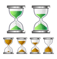 Sand Clock Glass Timer Icons on White Background vector