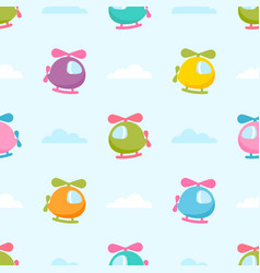 Seamless pattern with colorful helicopters vector