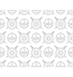 seamless pattern with viking shields swords vector image