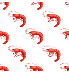 Seamless pattrn with flat red shrimp on white vector