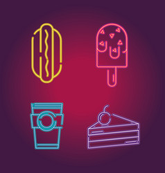 Set business commercial neon icons decoration vector