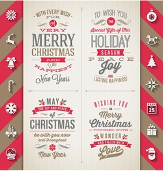 Set christmas type designs and flat icons vector