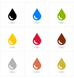 Set drop icon in flat style with shadow vector