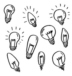set light bulbs cartoon doodle icon symbol of vector image