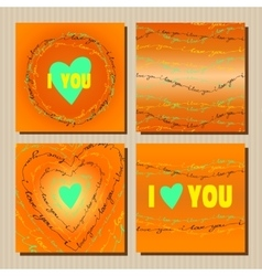 Set of cards with orange valentines day design vector