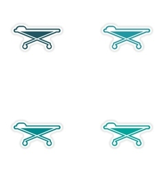 Set of paper stickers on white background medical vector