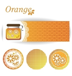 Set of rectangular and round stickers for orange vector