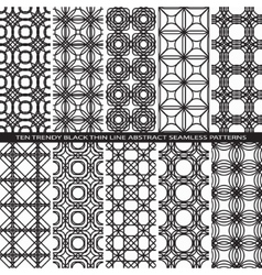 Set of Trendy Vintage Black Thin Line Seamless vector image