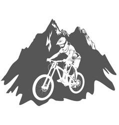 Silhouette a cyclist riding a mountain bike vector