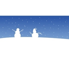 Snowman on the hill at night Christmas scenery vector image