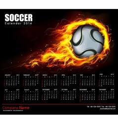 Soccer Fire Calendar 2014 vector