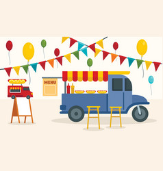 street food truck concept background flat style vector image