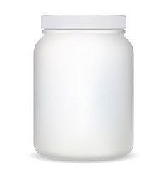 supplement bottle white plastic protein container vector image