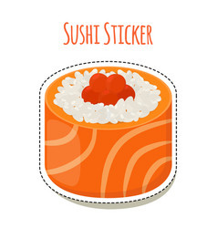 sushi stickerasian food with caviarrice - label vector image