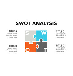 swot analysis square puzzle infographic vector image