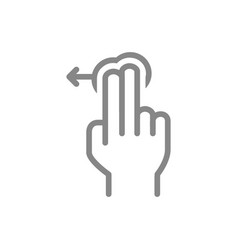 Tap with two fingers and swipe left line icon vector