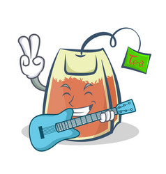 Tea bag character cartoon art with guitar vector