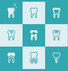 Tooth teeth set of nine colored icons vector