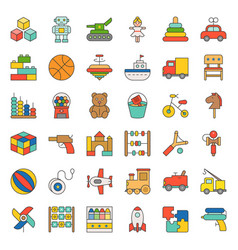 Toy for children and baby icon set vector