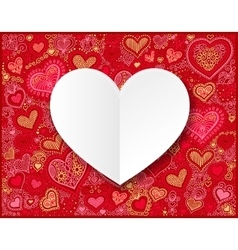Valentines day white paper on hand drawing heart vector