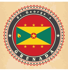 Vintage label cards of Grenada flag vector image