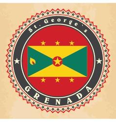 Vintage label cards of Grenada flag vector