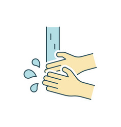 washing hands line color icon on white background vector image