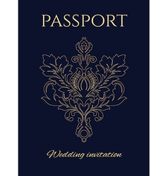 Wedding invitation passport vector