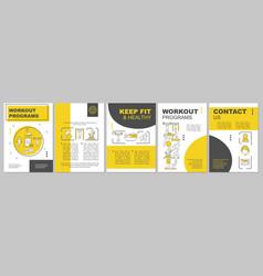 Workout program brochure template layout vector