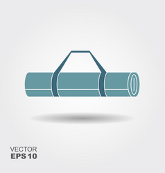 Yoga mat icon in flat style with shadow vector