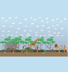 zoo concept in flat style vector image