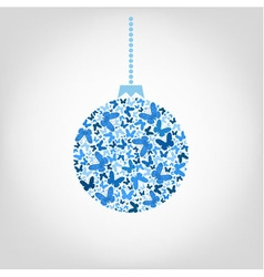 christmas tree ball from blue butterfly vector image