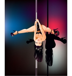 Pole dancer upside down vector image vector image