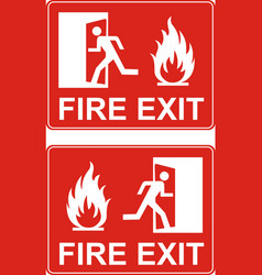 Red exit sign emergency fire exit door and exit vector