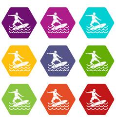 surfer icon set color hexahedron vector image